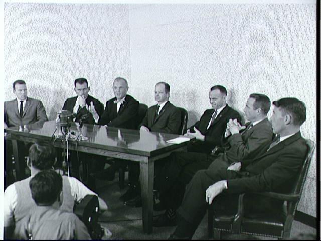 Original Mercury Astronauts with Col. John A. (Shorty) Powers