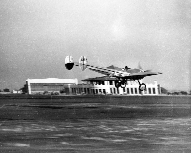 Pilot Eddie Bellande flying the Northrop Avion Ex-1, prototype of the flying wing.