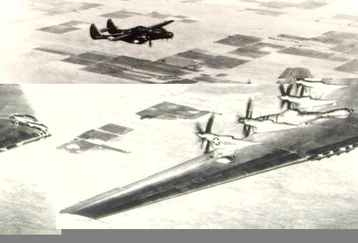 Northrop XB-35 followed by Northrop P-61 chase plane