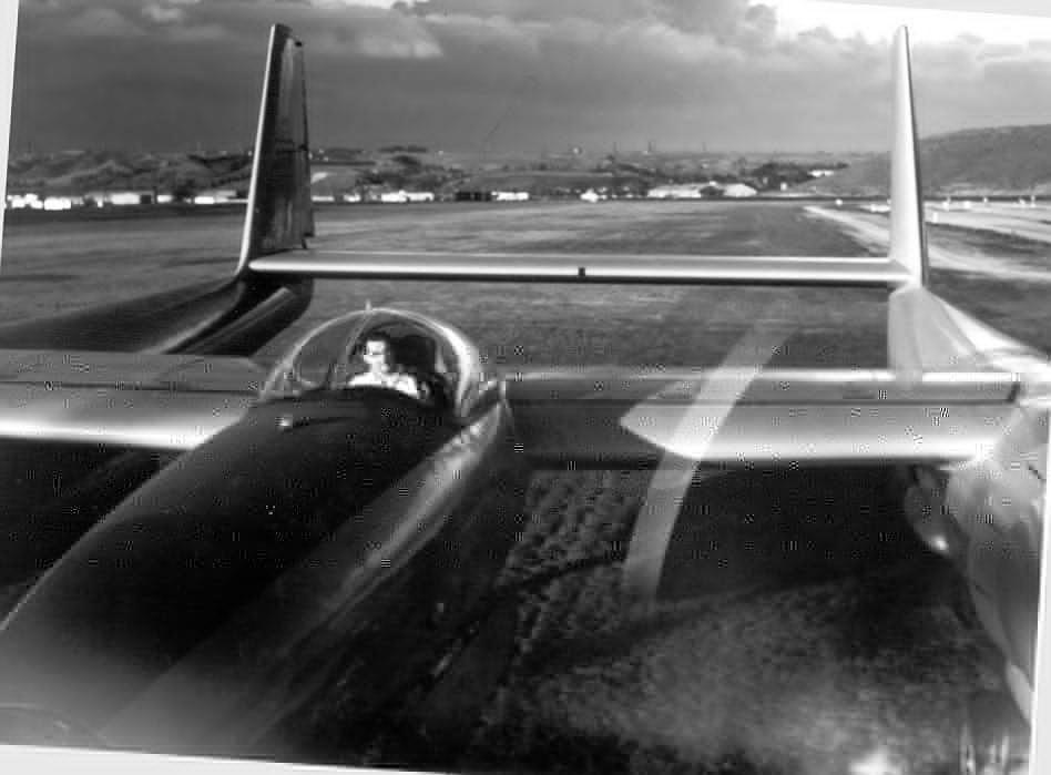 A circa 1940s photo of Howard Hughes in the cockpit of the Hughes XF-11A, the aircraft which would nearly kill him.