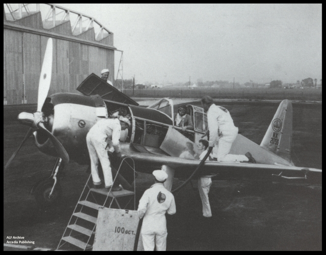 Above- Vultee Aircraft worker in promo picture from 1930's at Downey, California