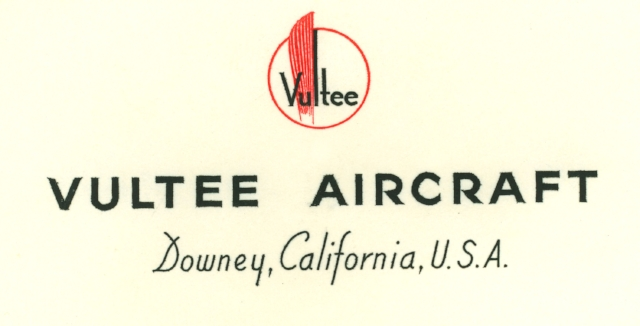 Above- Vultee Aircraft stationary -  Image/ ALF Archive