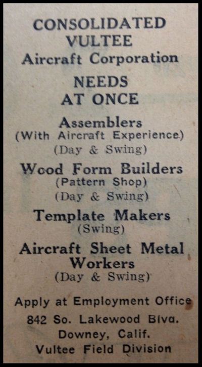 Above- Consolidated Vultee ad Downey Livewire 1947