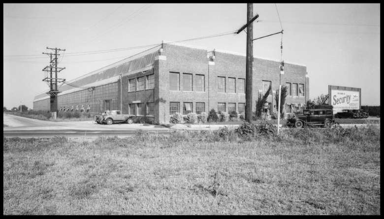 Security Aircraft Corporation at Washburn Road & Cerritos Ave (Lakewood Blvd.) in Downey, CA 1933.  Image- Dick Whittington Studios