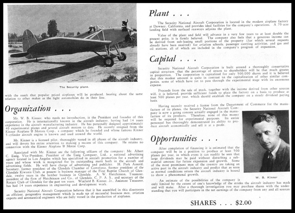 Above- Security Aircraft Co. brochure from 1933. Kinner was only in Downey for about one year.