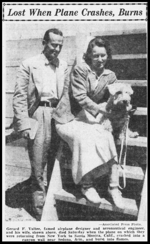 """Above- The Morning Call Mon Jan, 31 1938- """"Lost when plane crashes and burns..."""". Mr. and Mrs. Vultee perish in plane crash, Sedona, AZ."""