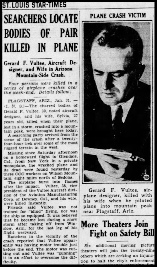 Above- The St. Louis Star and Times Monday, Jan 31, 1938