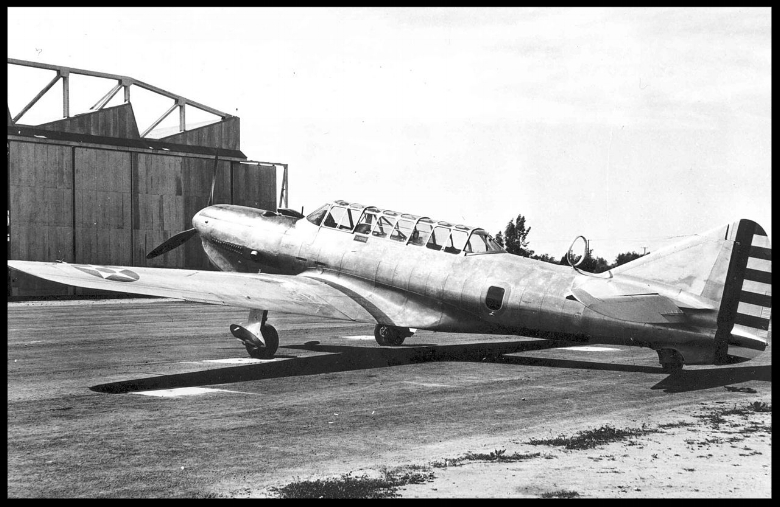 Above- Vultee YA-19A powered by Lycoming O-1230 engine