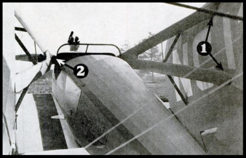 Above- The Kinner  folding wing  in which (1) is the detachable  wing  connection and (2) is the strut socket
