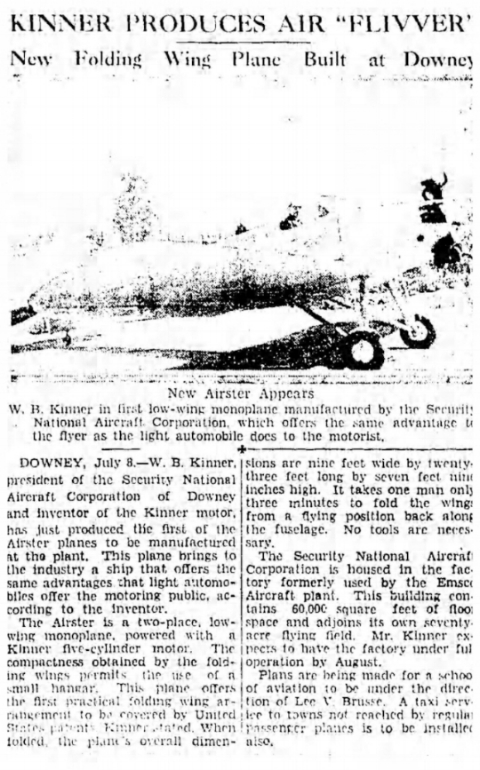 "Kinner Produces Air ""Flivver""- LA Times July 9, 1933"