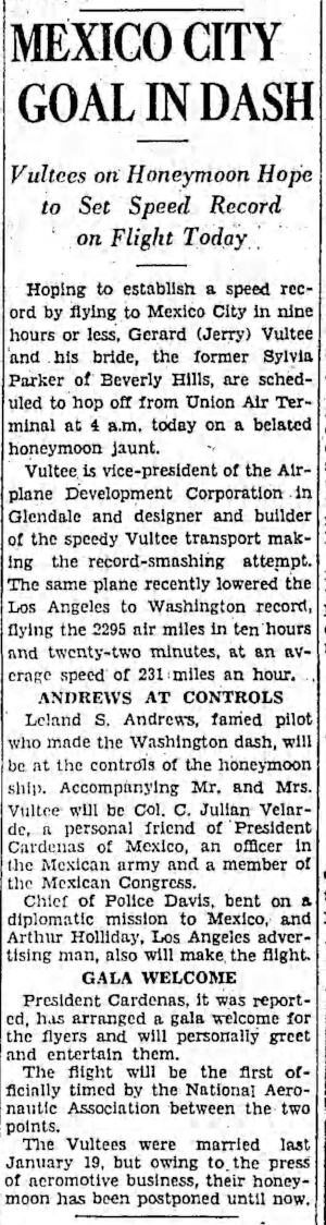 """Above- """"Vultee's on Honeymoon...."""". Los Angeles Times March, 1935."""