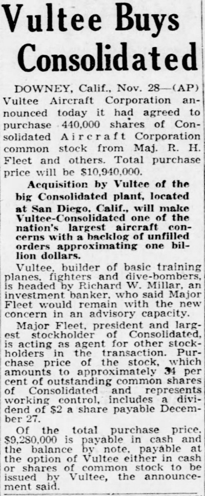 """Above- """"Vultee Buys Consolidated"""". Los Angeles Times Nov. 28, 1941"""