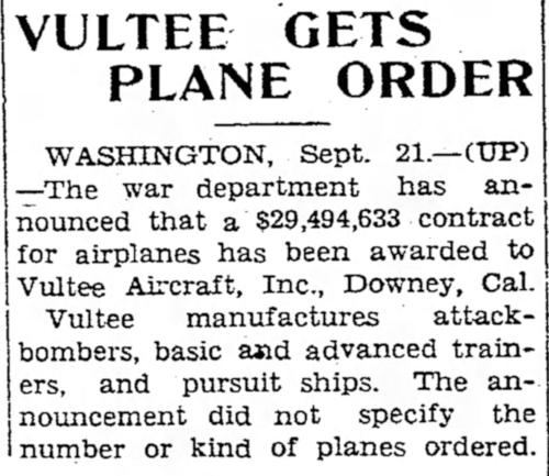"""Above- """"Vultee Gets Plane Order"""". The Vidette Messenger Sat. Sep, 21, 1940"""
