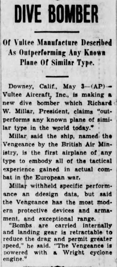 Above- Vultee Dive Bomber. The Cincinnati Enquirer Sun.May, 4, 1941