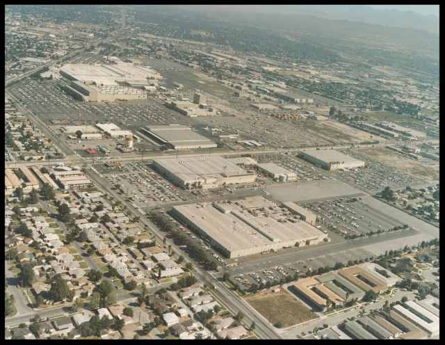 Rockwell International early 1990's aerial view. Facing north from Imperial Highway and Clark Avenue (Columbia Way) with Lakewood Boulevard on the upper right. Bellflower Boulevard borders the plant on the right north of Imperial. Image- ALF Archive