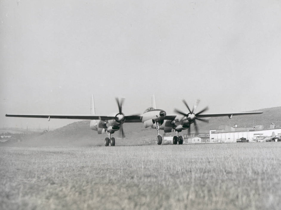 Photograph of first XF-11 plane taking off, July 7, 1946