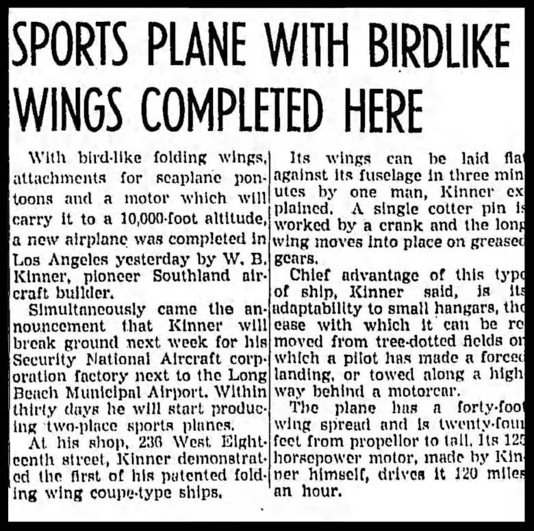 """""""Sports Plane With Birdlike Wings""""- November 6, 1936, Los Angeles Times."""