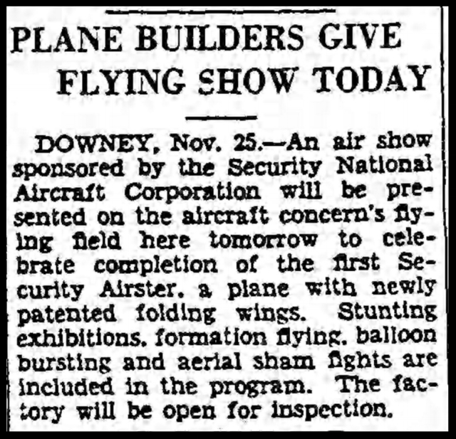 Above- Plane Builders Give Flying Show Today - LA Times November 26, 1933.