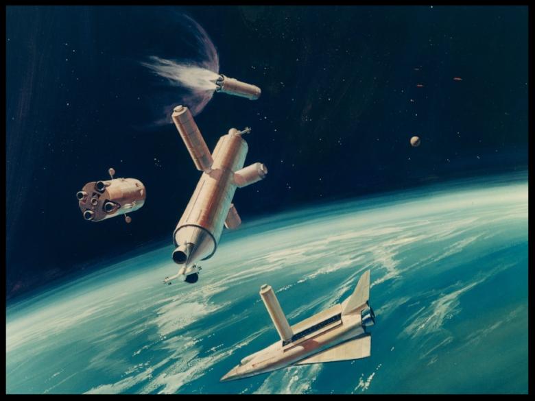 Space Shuttle orbiter concept artwork.  Image- Tony Ivancic (Rockwell/NASA)
