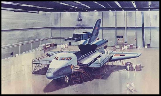 SPACE ART Space Shuttle Payload Bay Concept 1970′s  (galaxy wire)