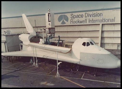 Space Shuttle mock-up at Rockwell in Downey, California, 1970's.