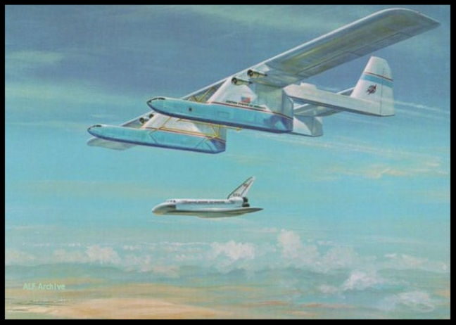 Pre-White Knight 2 concept - the Conroy Virtus 2 x B-52 fuselages to transport Shuttle Orbiter.   Image- Rockwell/NASA