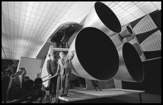 Sen. Hubert H. Humphrey  inspects mock-up of engine section of space shuttle during visit to  North American Rockwell  plant in  Downey  June 5, 1972.