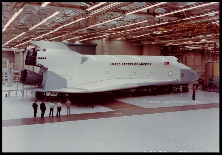 Shuttle Orbiter Mock-Up in DEI Room, Building 001, Rockwell, Downey 1970's.