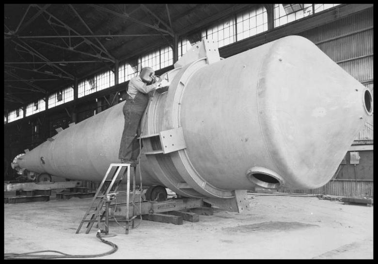 Rocket fuel tank being welded for Rocketdyne in Canoga Park, April 3, 1958