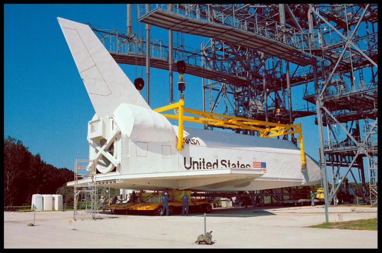 At NASA's Kennedy Space Center in Florida, this space shuttle mock-up, dubbed Pathfinder, is attached to the Mate-Demate Device for at fit-check on October 19, 1978