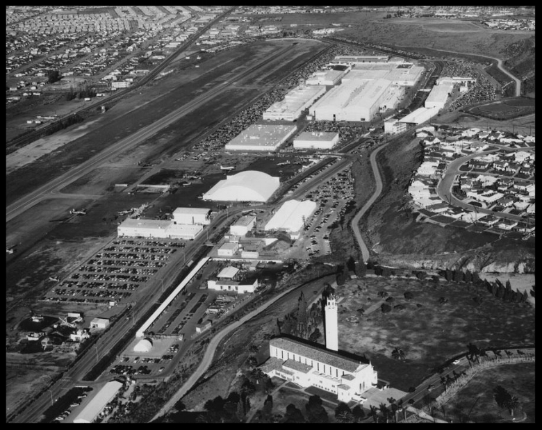 Photograph of an aerial view of Hughes Aircraft Manufacturing Plant, ca.1950. Image- California Historical Society
