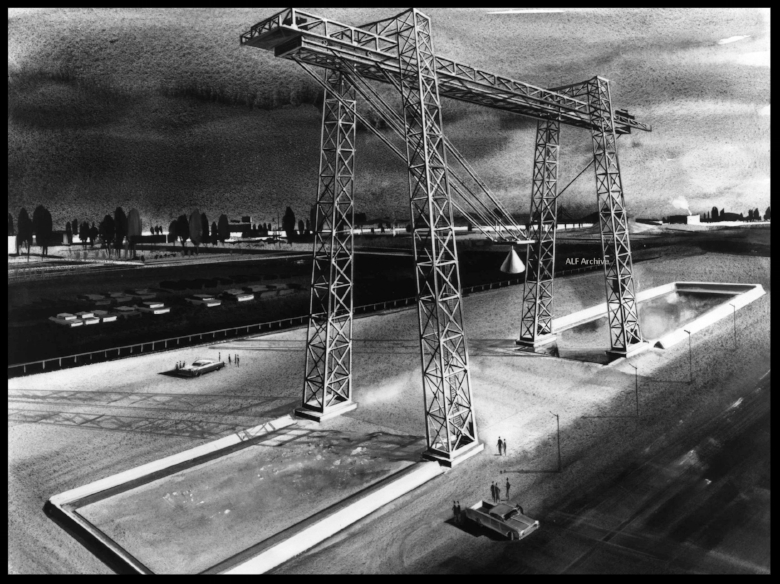 Apollo drop test tower in Downey at North American Rockwell.  Image- ALF Archive/ NASA