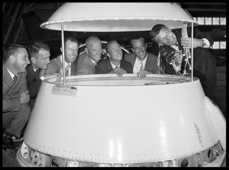 Astronauts train at Langley Research Center, 1959. From left to right are Air force Capt. Virgil Grissom, Air Force Capt. Donald Slayton, Air Force Capt. Beroy Cooper, Marine Lt. Col. John Glenn, Navy Lt. Malcolm Carpenter, Navy Lt. Cmdr. Alan Shapard and Navy Lt. Cmdr. Walter Schirra. - Photos - NASA archive photos - NY Daily News
