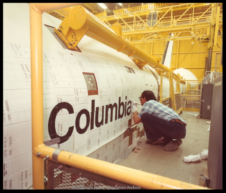 """Lettering of word """"Columbia"""" on that orbiter at Rockwell International"""