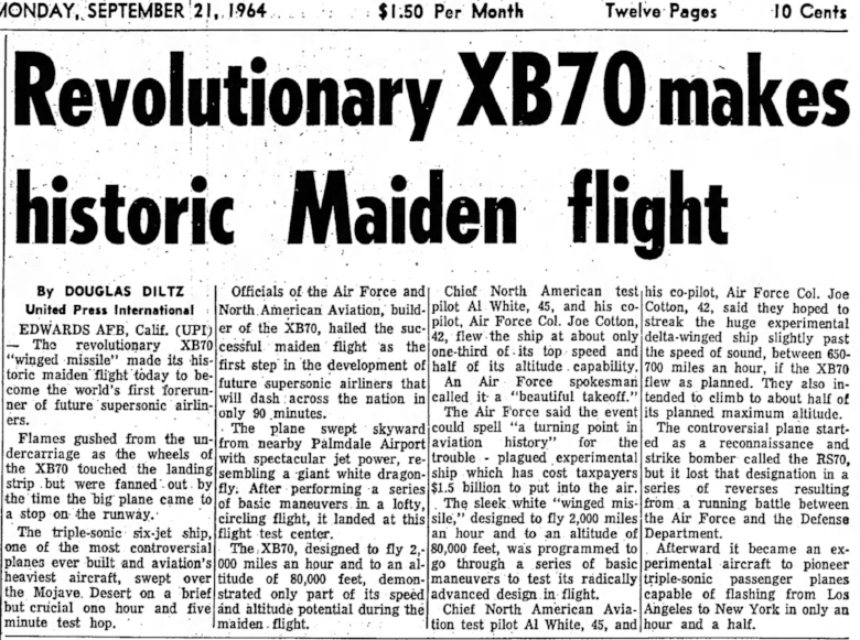 Historic maiden flight of North American Aviation's XB-70 Valkyrie. Redlands Daily Facts Mon. Sep. 21, 1964