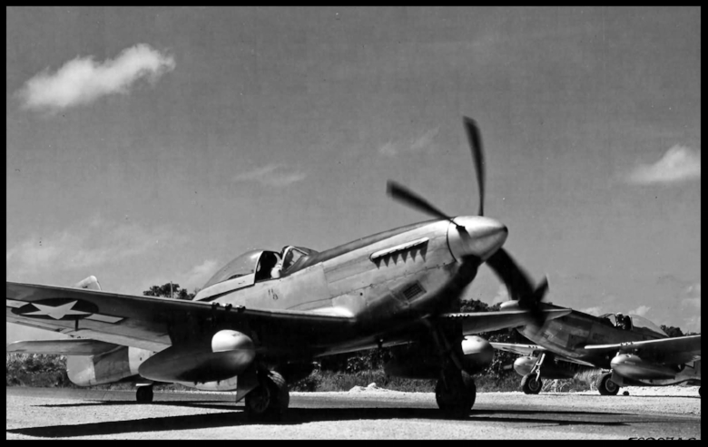 "P-51 Mustang at Iwo Jima 1945. ""Among one of the most famous fighters of World War II, the P-51 Mustang has its roots in both Britain and the USA. Originally overlooked by the USAAF, the P-51 did not see action with American forces until March 1943. Once its full potential had been developed, the USA realized that this aircraft had been ignored for far too long a time. With the forging of the American airframe with the British Rolls-Royce Merlin engine, it would be unmatched by any other piston aircraft of World War II. """