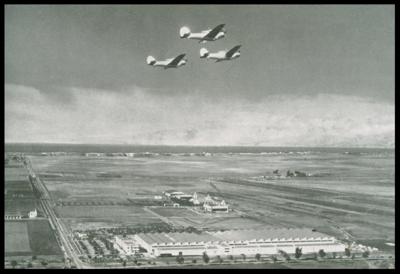 NA-25 airplanes over North American Aviation factory May 1939