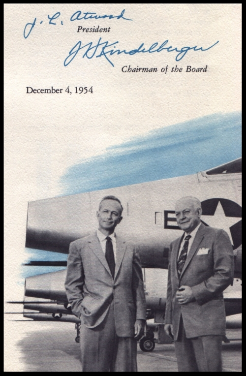"""Lee Atwood and James Kindelberger (""""Dutch""""), leader of North American Aviation"""