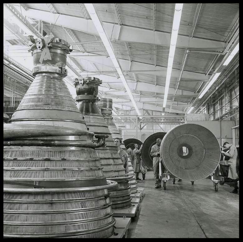 J-2 engines for the Saturn IB Saturn V launch vehicles are lined up in the assembly area at Rocketdyne's manufacturing plant in Canoga Park, California.