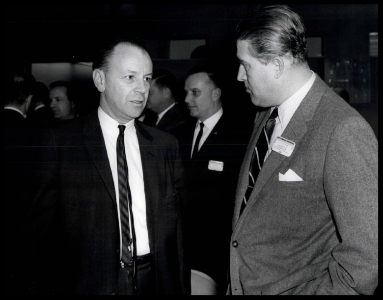 Dr. Harrison Storms and Dr. Wernher von Braun discuss the space program at North American Aviation in Downey, CA.
