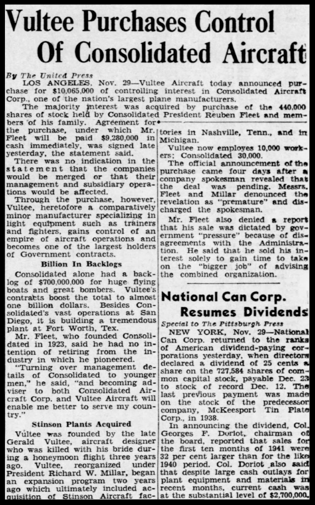 More on Consolidated- November 30, 1941.