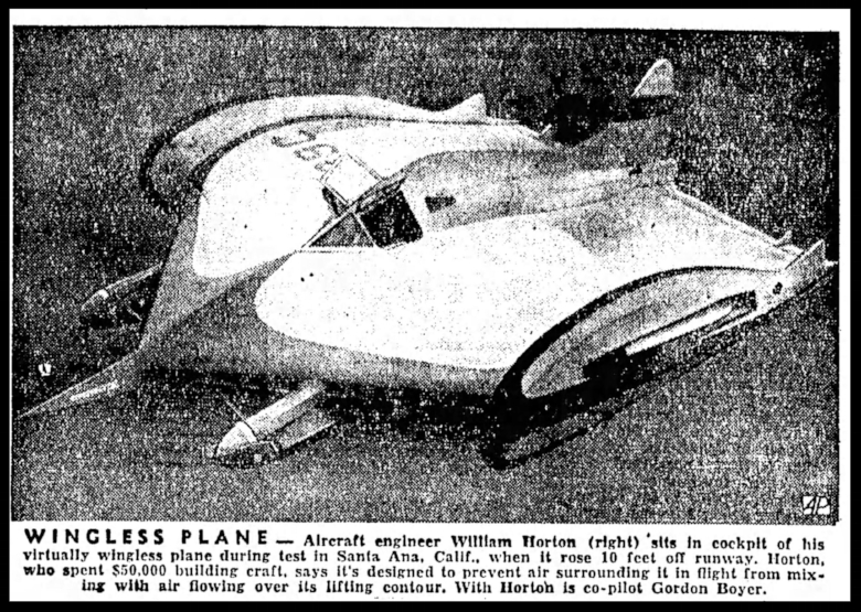 """Wingless Plane"".  Beatrice Daily Sun. Wed Nov. 12 , 1952."