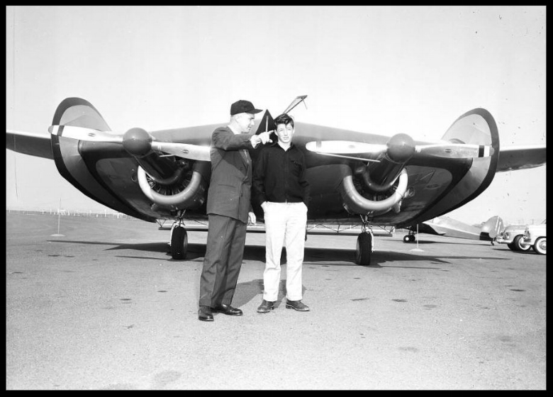 Wingless aircraft (Horton Wingless Airplane), 22 January 1954. Will Horton -- 37 years (Pilot); Garry Horton -- 15 years (son) (at Orange County Airport. Image- USC Archive