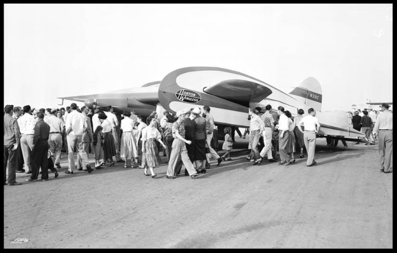 "Wingless aircraft ( Horton Wingless Airplan e),  1954 .'Horton Wingless'airplane at Orange County airport.Plane in flight."""