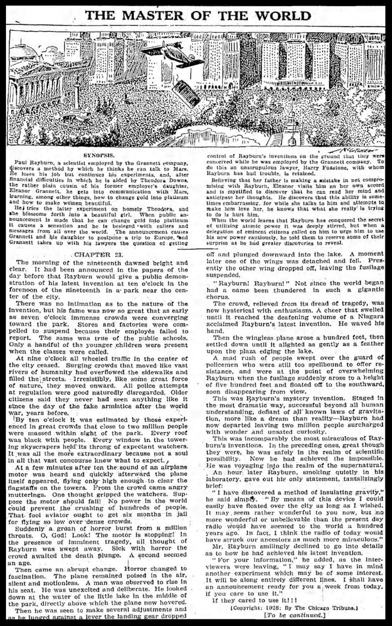 """The Master of the World"".  Chicago Tribune Sun . Apr. 8, 1928."