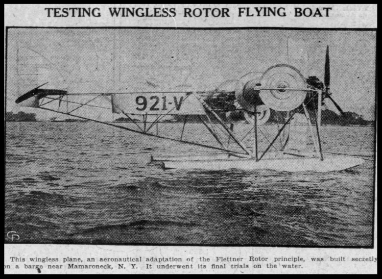 """Testing wingless rotor flying boat"".  Journal and Courier Sat. Sep. 6, 1930"