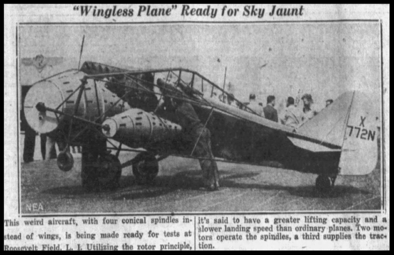 """Wingless plane ready for sky jaunt...""  Orlando Evening Star Thu May 26 1932"