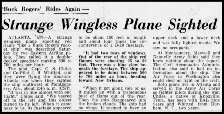 """Strange wingless plane sighted"" . The Palm Beach Post Sun. July, 25 1948"