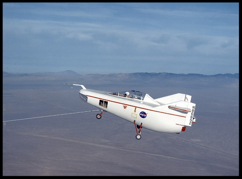 NASA M2-F1 Lifting Body in first flight being towed by a C-47. Image- NASA