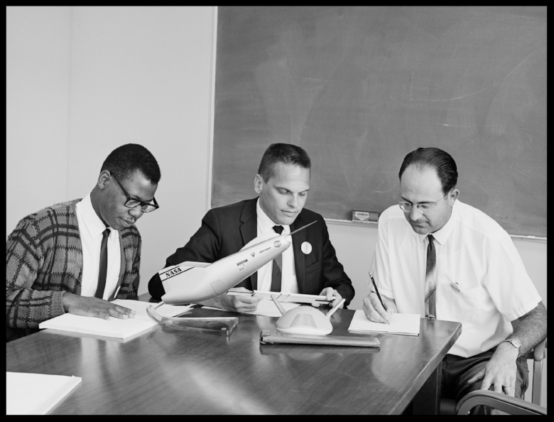 """NASA engineers Alphonso Stewart, left; Ken Iliff, center; and Dale Reed, right; were part of the center's lifting body aircraft study group. All three were pioneers in their respective fields"". Image- NASA"